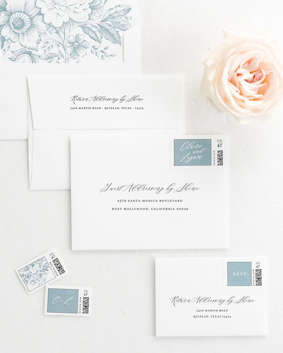 Wedding Invitation Envelopes with Pre-Printed Addresses and Matching Mineral Personalized Stamps
