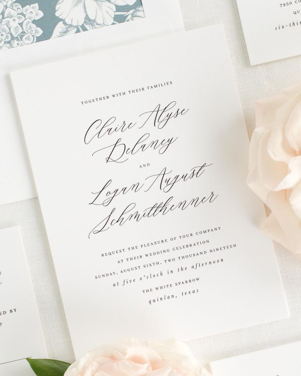 calligraphy wedding invitations with a dusty blue envelope liner