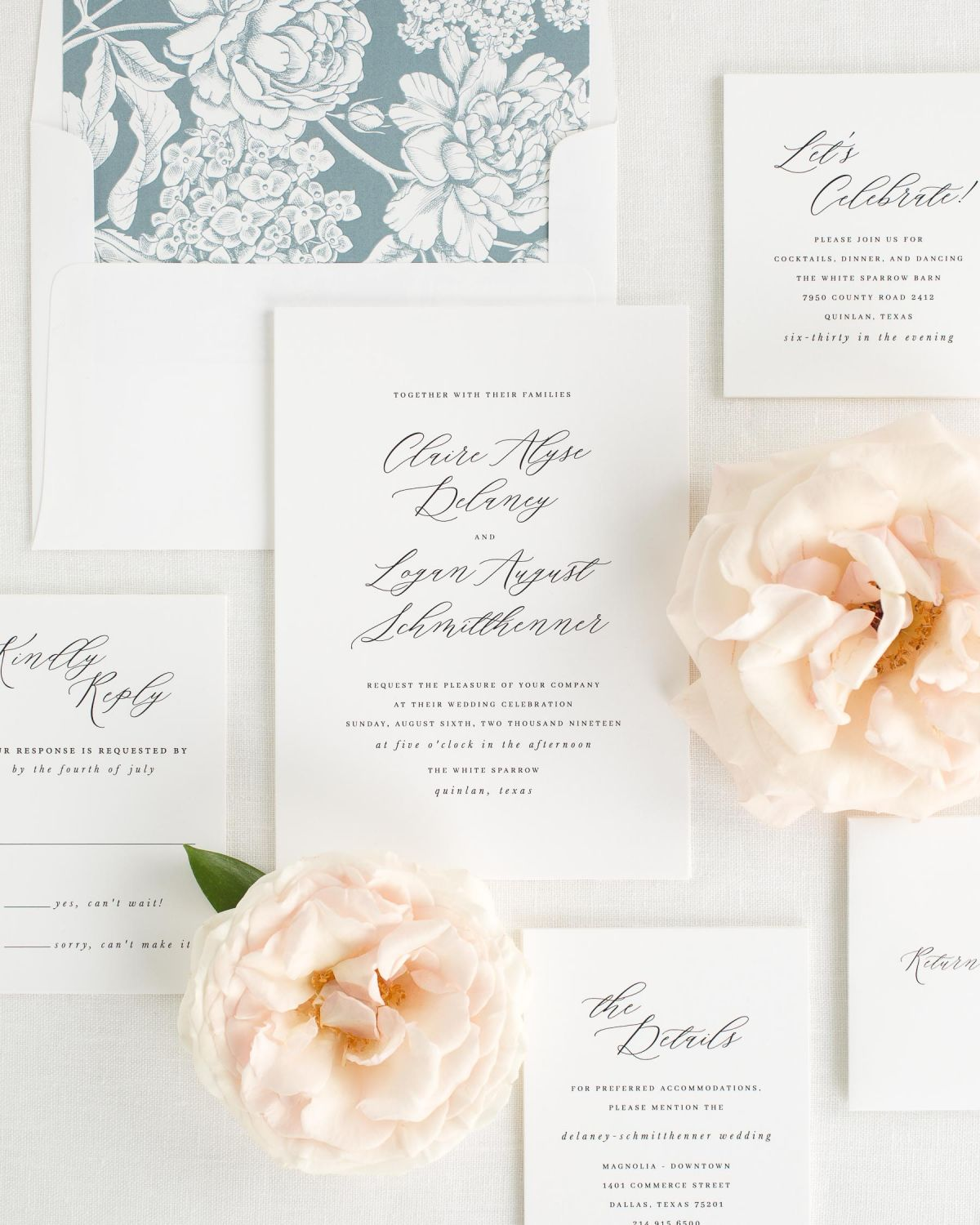 Wedding Invitation Package with Mineral Envelope Liner