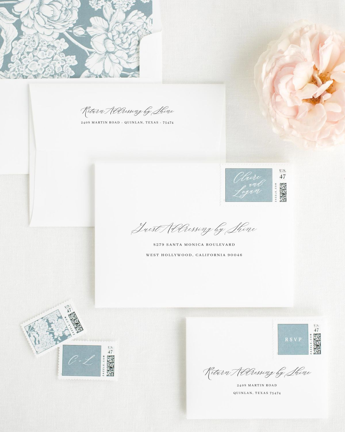Wedding Invitation Envelopes with Mineral Personalized Postage and Hydrangea Liner