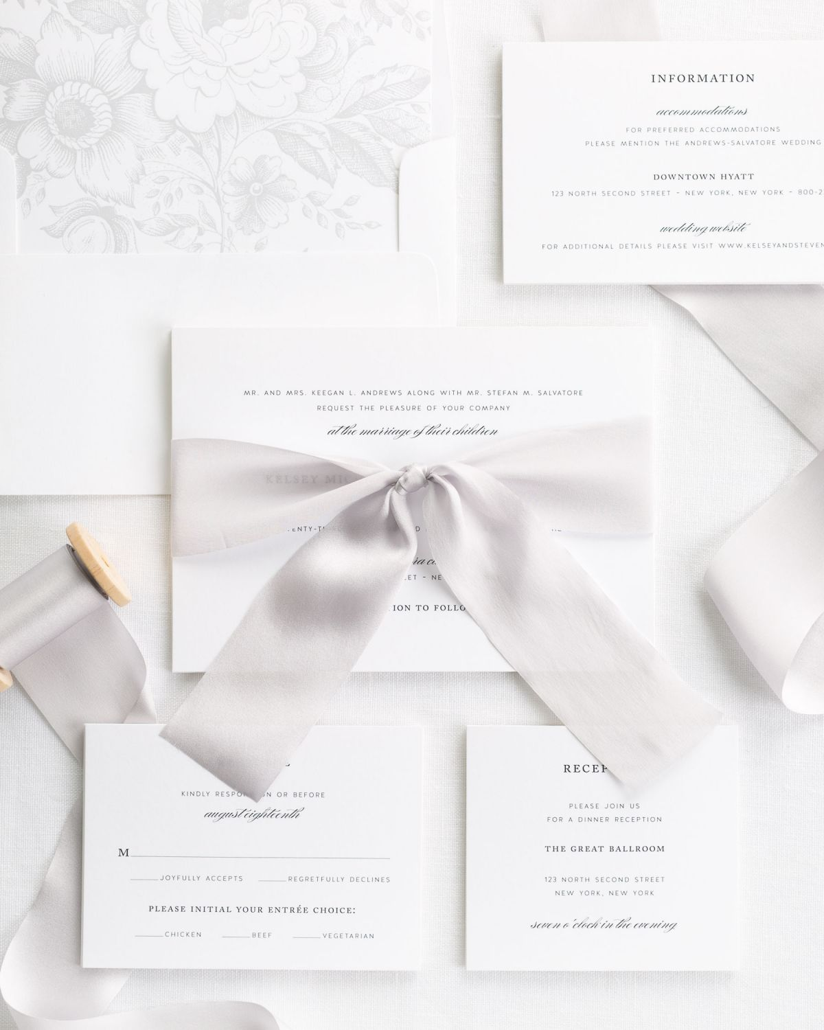 Complete Wedding Invitation Suite with mink silk ribbon and enclosures