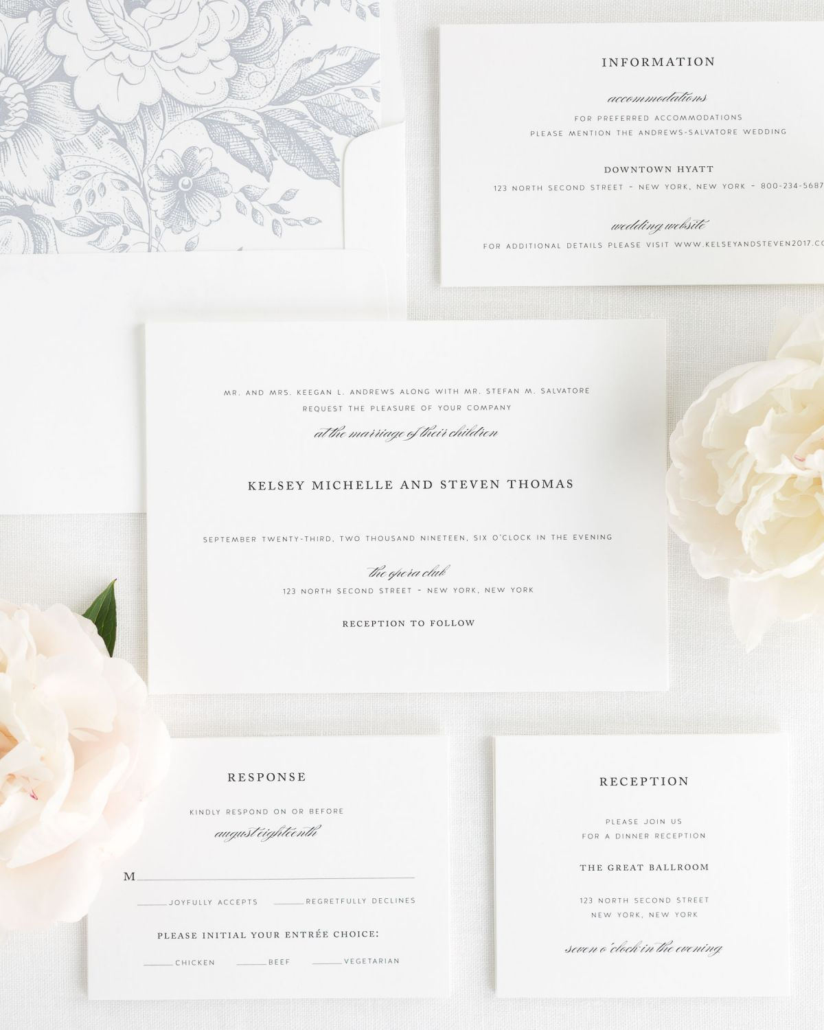 Wedding Invitation Set with Dove Gray Liner