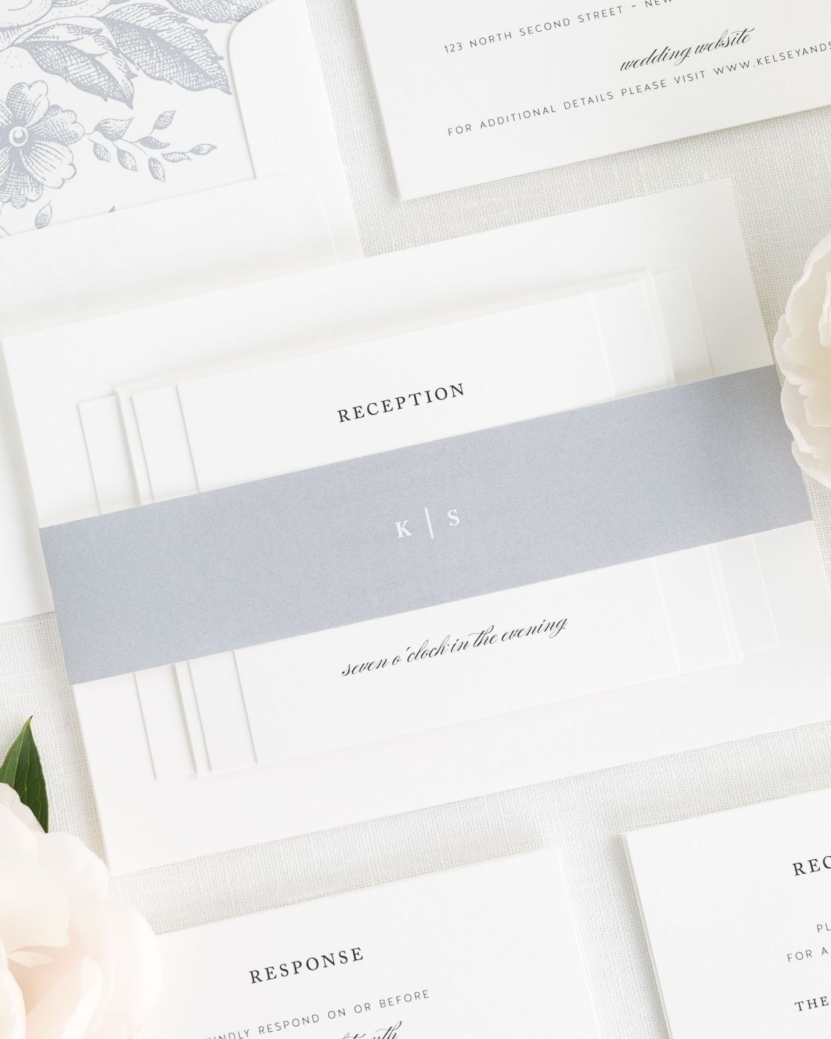 Dove Gray Wedding Invitations with Belly Band and Floral Envelope Liner