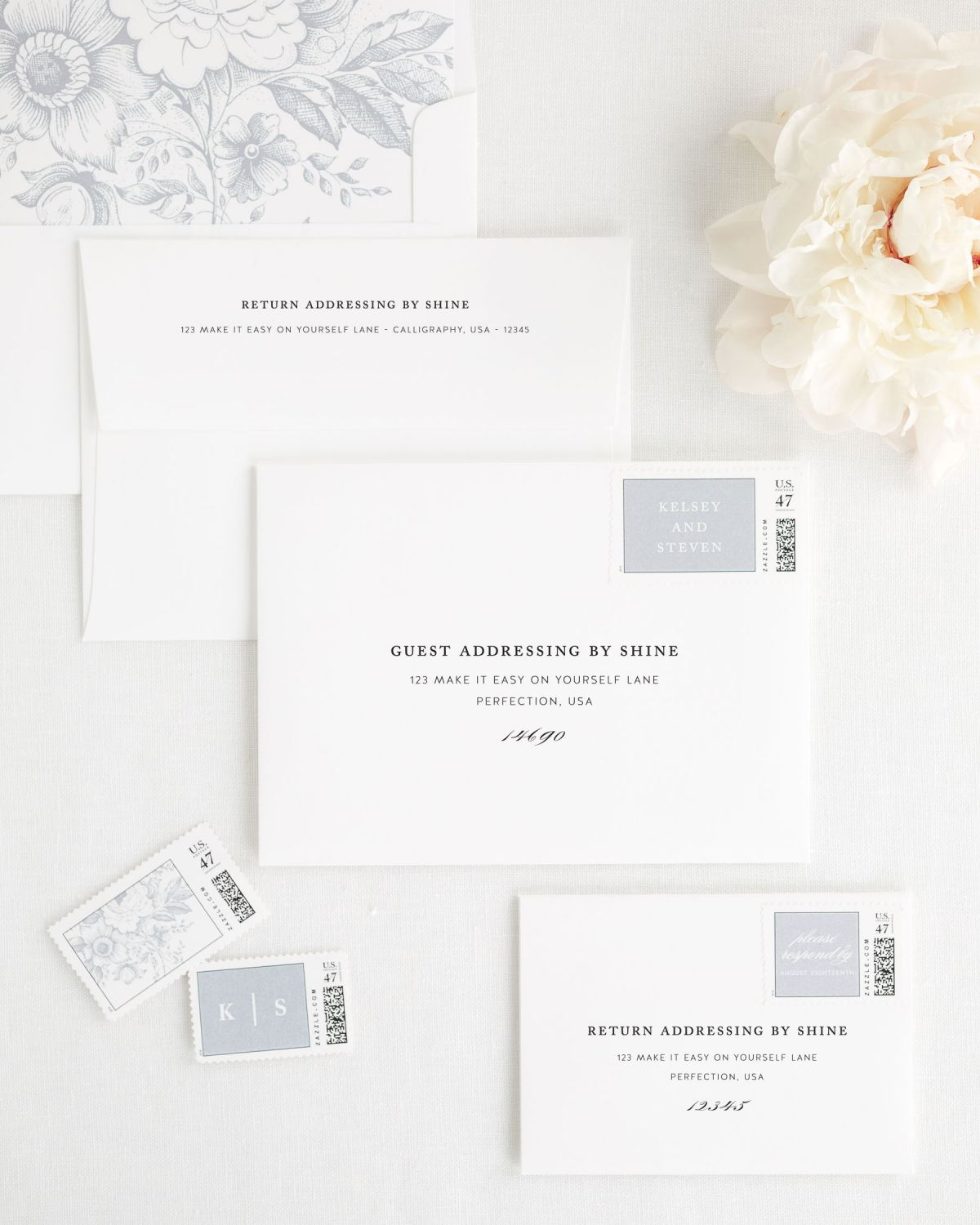 Wedding Invitation Envelopes with Dove Gray Personalized Postage and Floral Envelope Liner