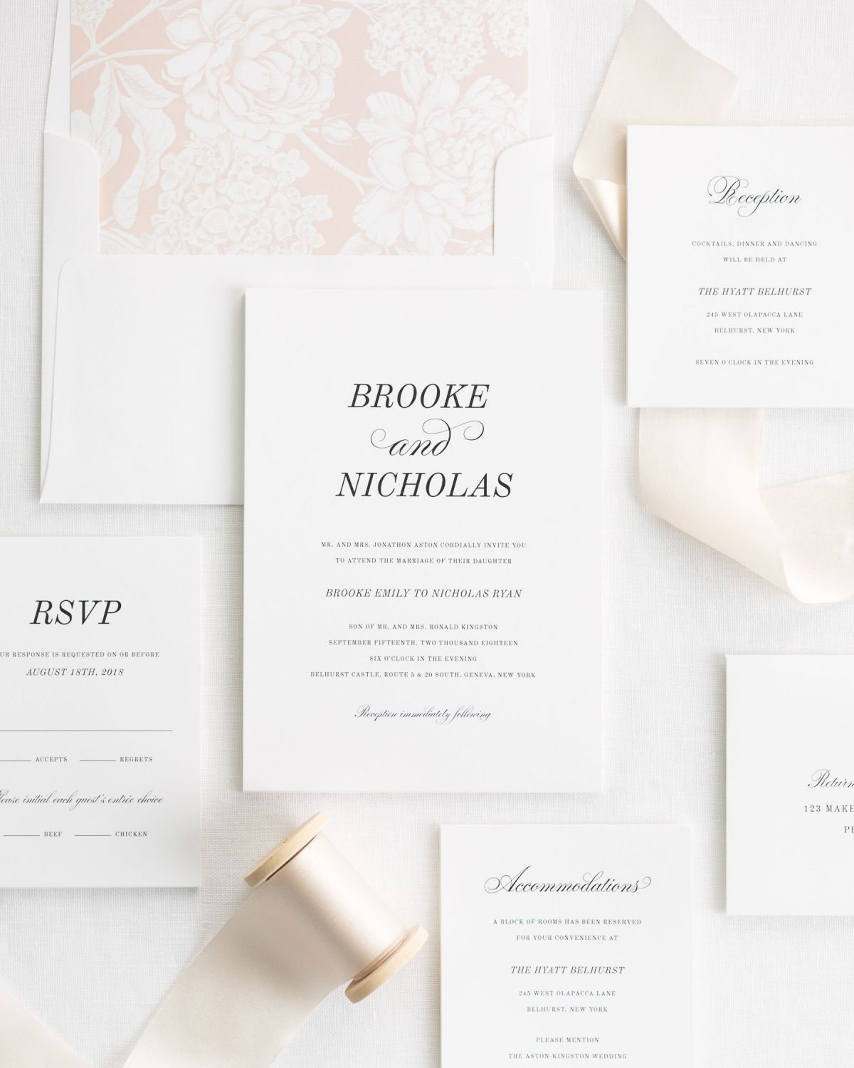 Classic Fairytale Wedding Invitations in rose gold with a floral liner and silk ribbon