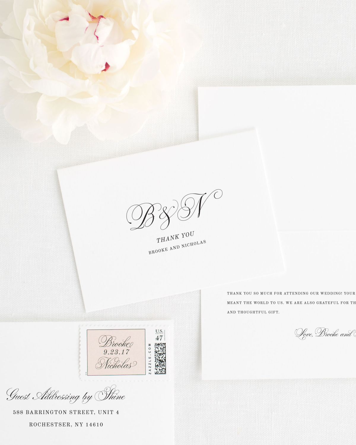 Monogram Thank You Cards for Weddings