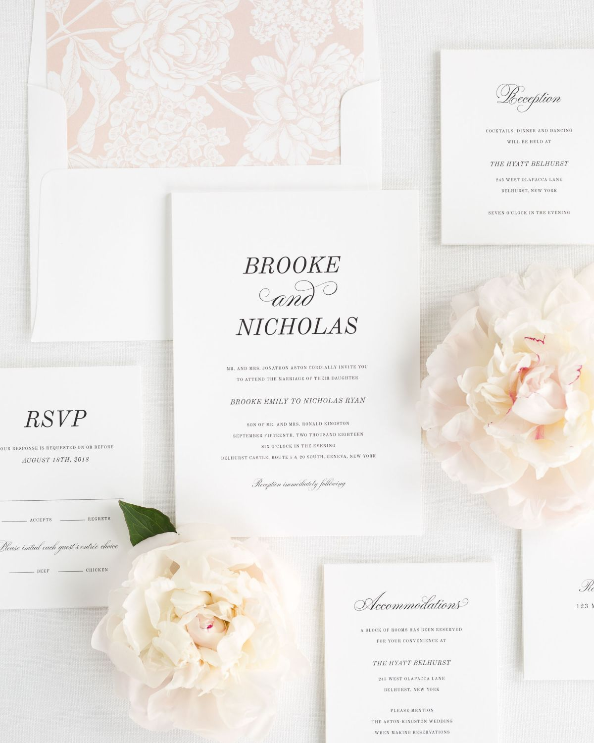 Wedding Invitation Suite with Rose Gold Liner