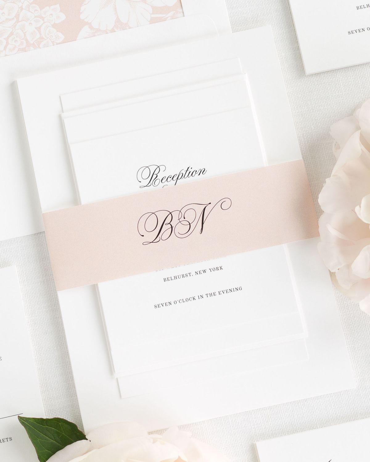 Rose Gold Wedding Invitations With Belly Band And Fl Envelope Liner