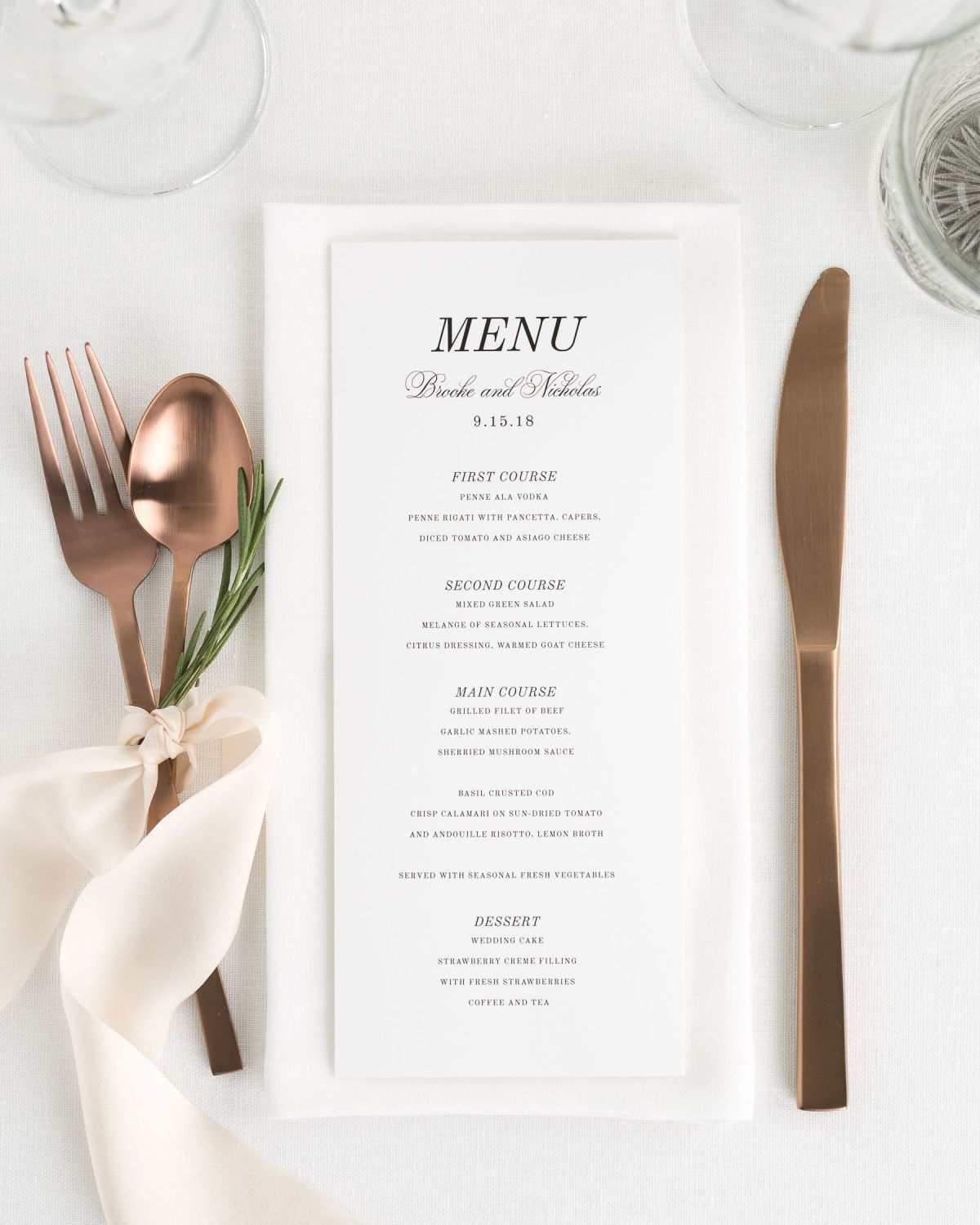 romantic wedding menu tablescape with flatware and silk ribbon