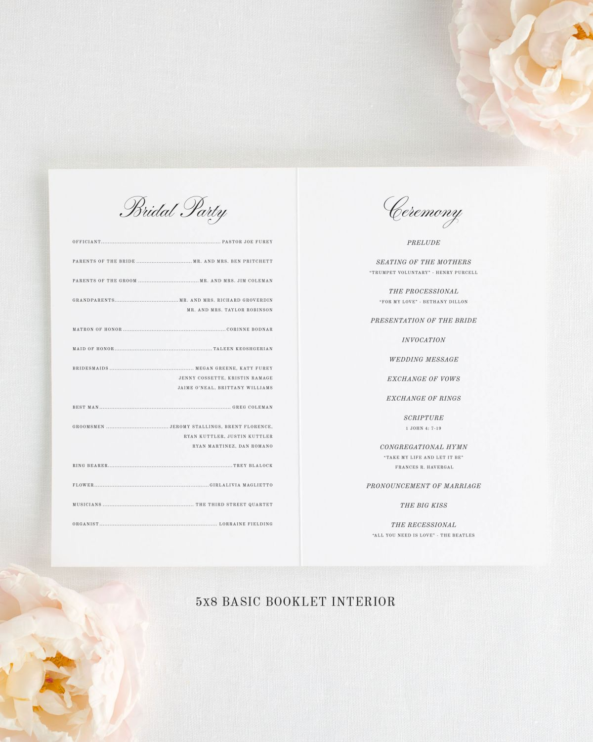 5x8 Wedding Programs Interior