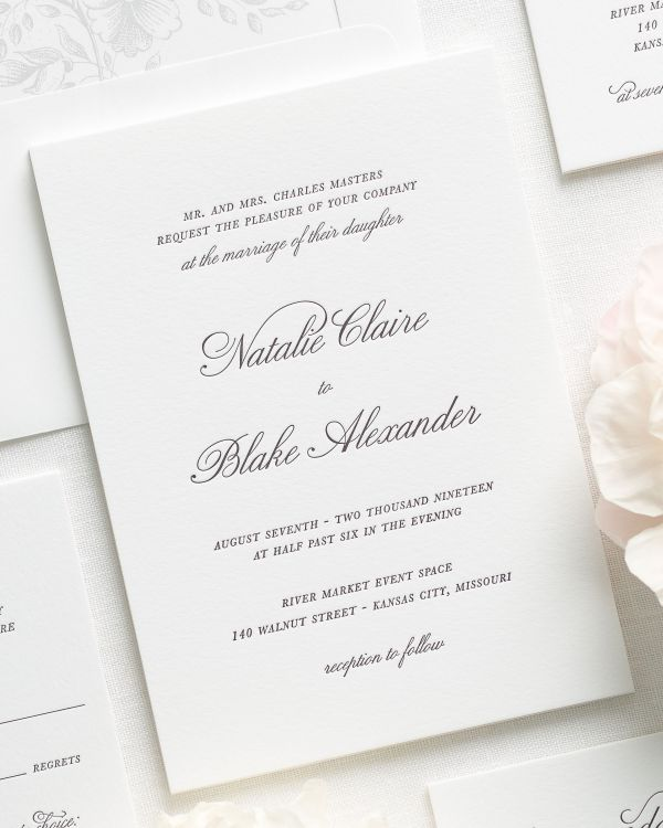 classic and traditional letterpress wedding invitations with a silver liner