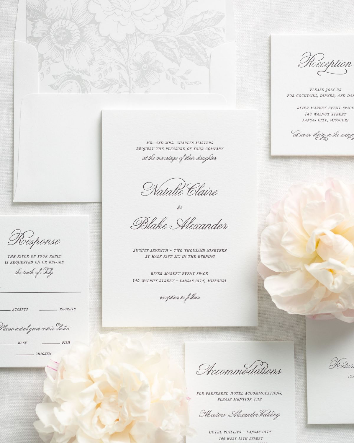 classic and traditional letterpress wedding invitations with a garden rose envelope liner