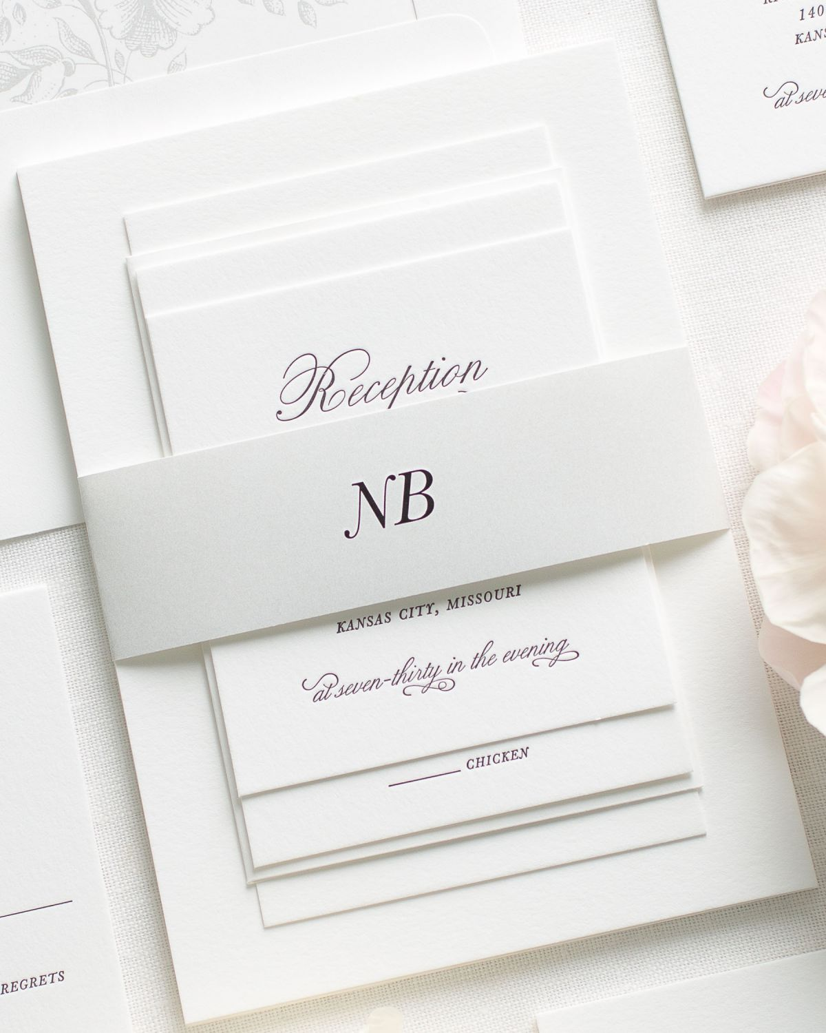 Letterpress Wedding Invitations with a belly band