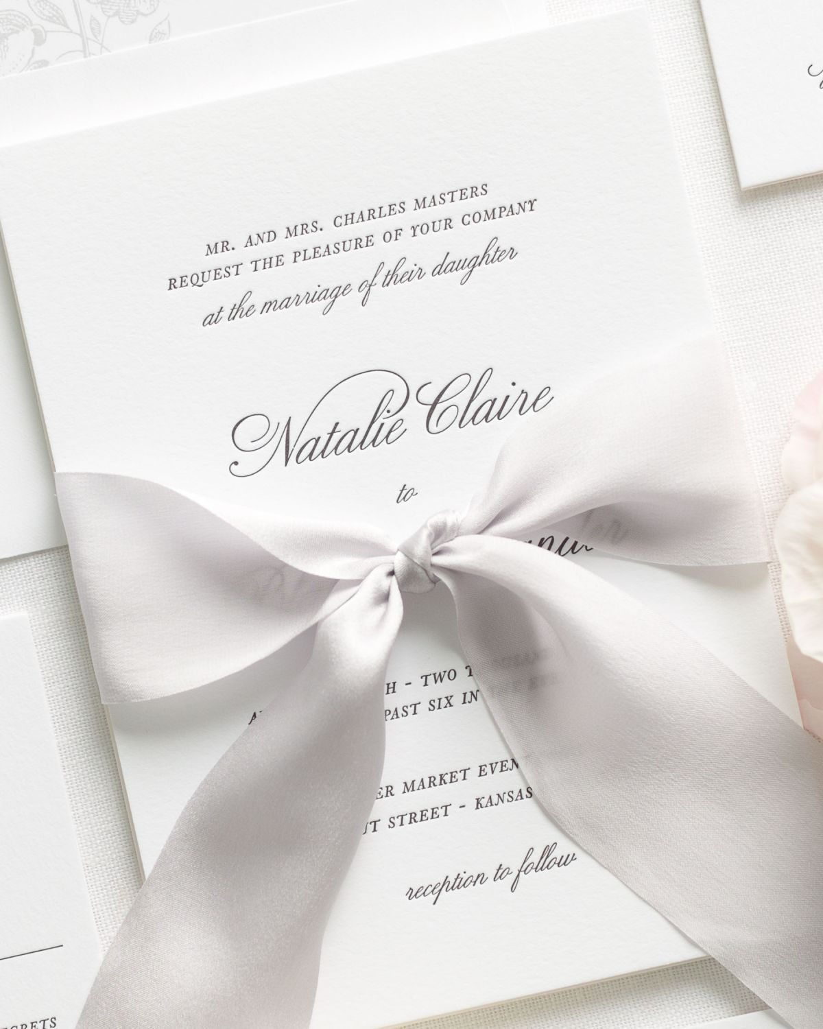 Silver Letterpress Wedding Invitations