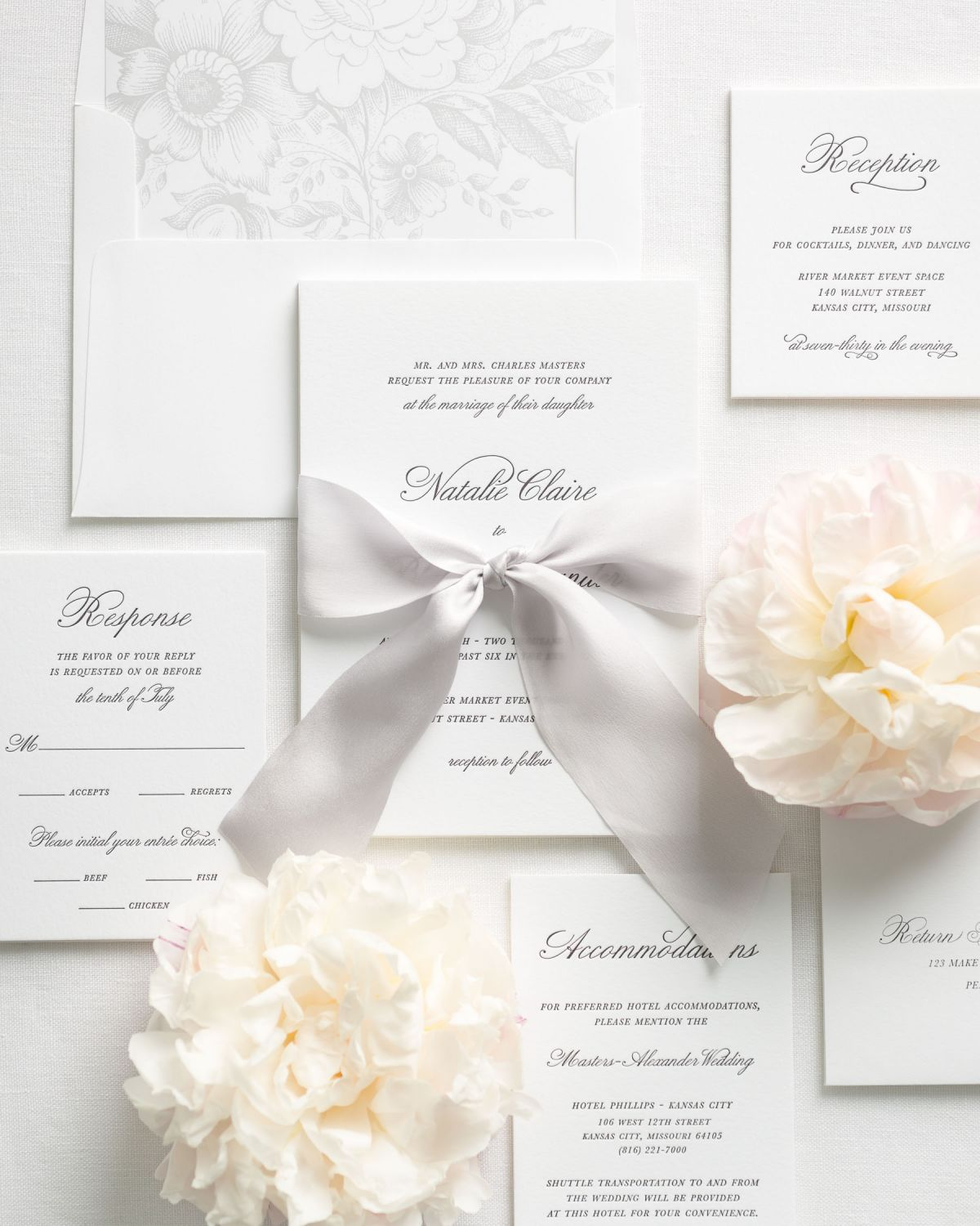 ... Simple Letterpress Wedding Invitations With Silk Ribbon ...