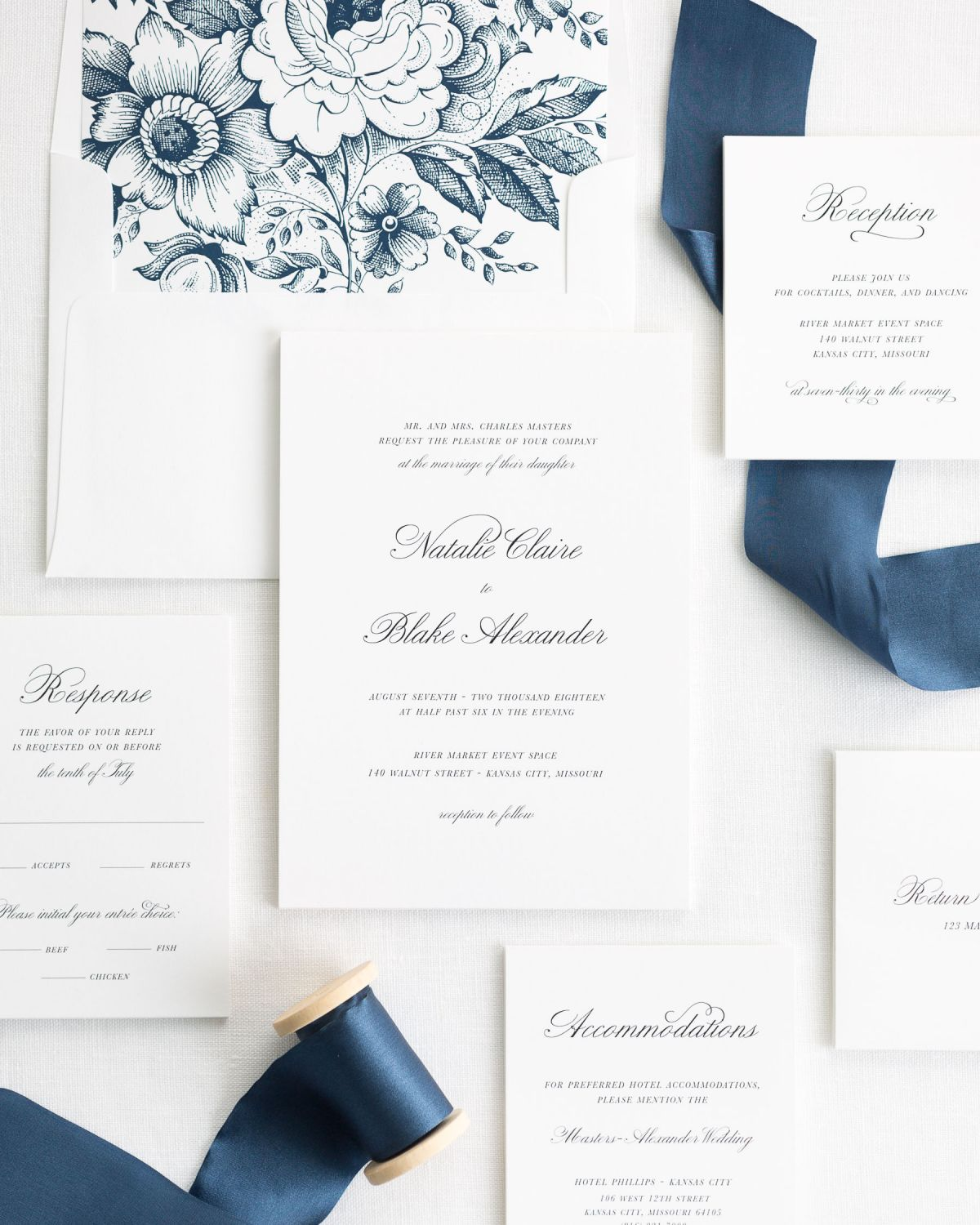 sapphire ribbon wedding invitations with a navy garden rose liner