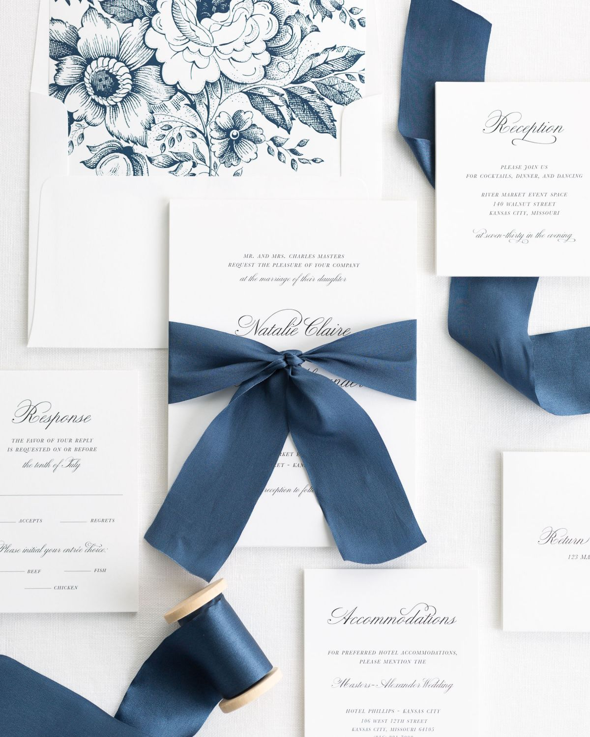 Complete Wedding Invitations with Blue Ribbon and Enclosures