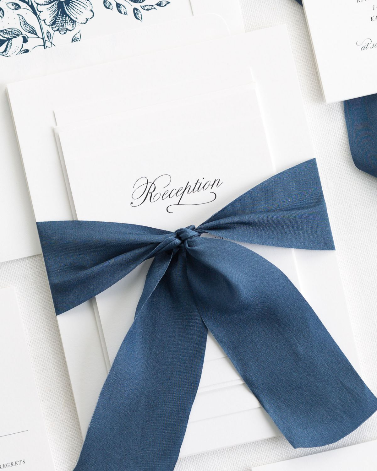 navy wedding invitations with simple script