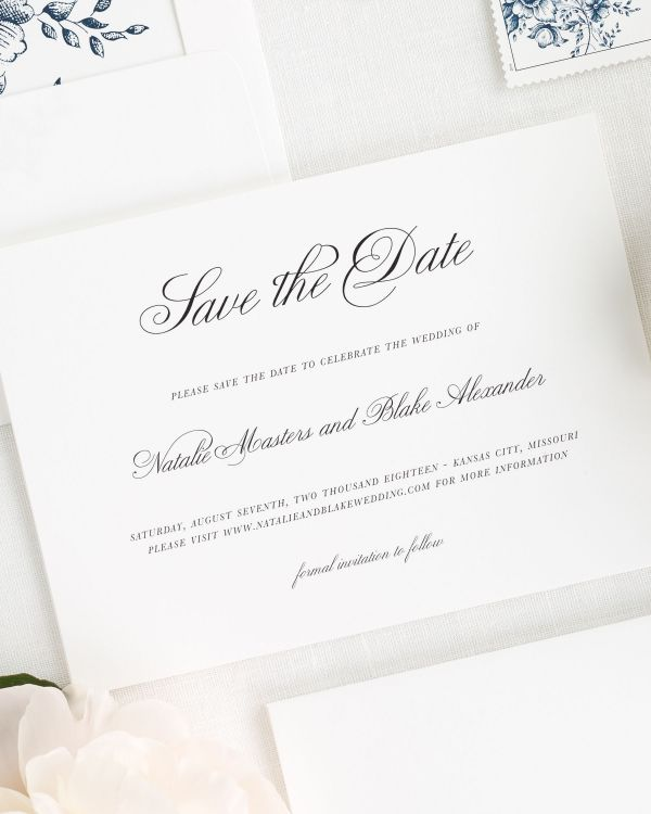 Classic Script Save the Date Cards
