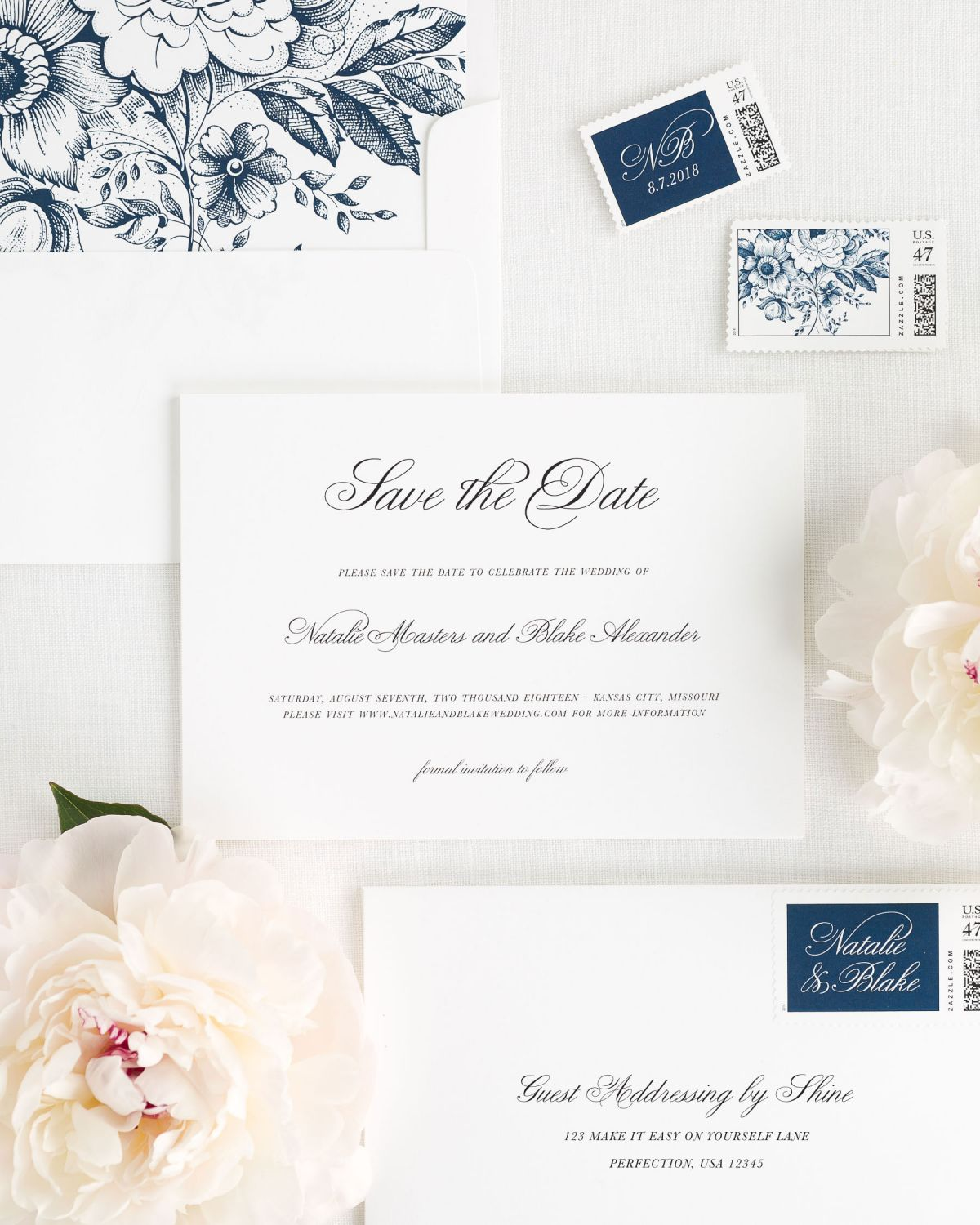 navy save the dates with custom stamps