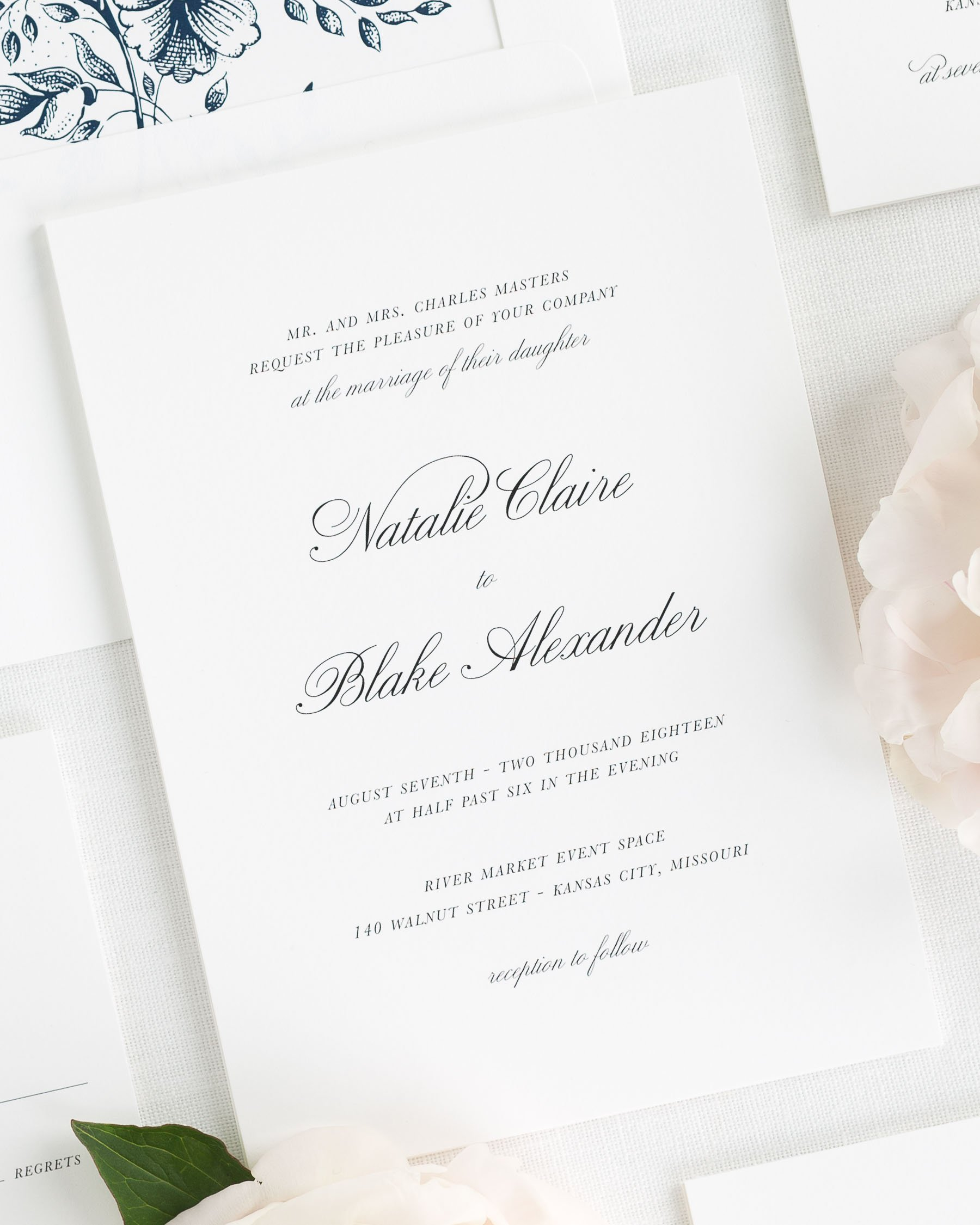 Classic Wedding Invitations in Navy with a Floral Liner – Wedding ...