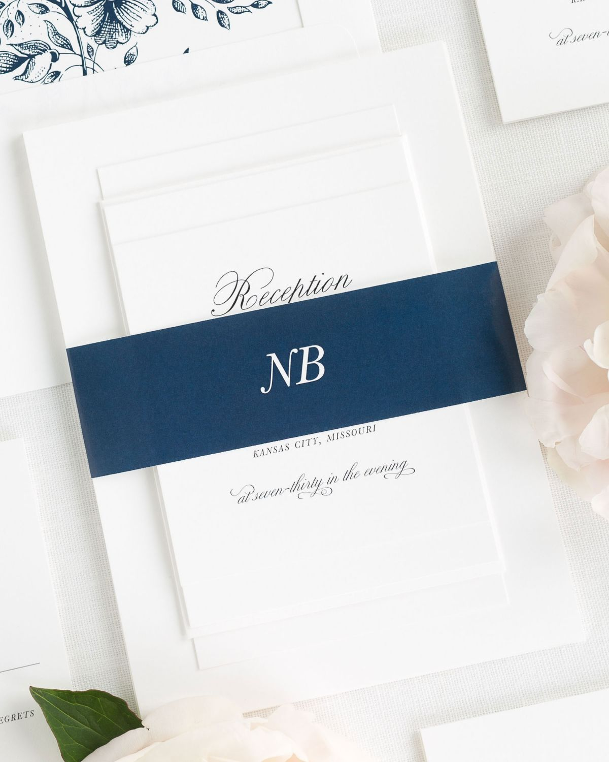 Navy Wedding Invitations with Belly Band and Garden Rose Envelope Liner