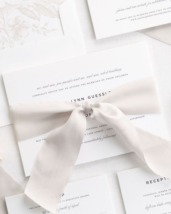 Classic Urban Ribbon Wedding Invitations