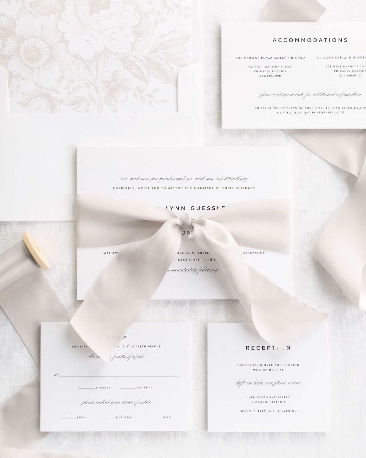 Complete Wedding Invitations with Mocha Ribbon and Enclosures