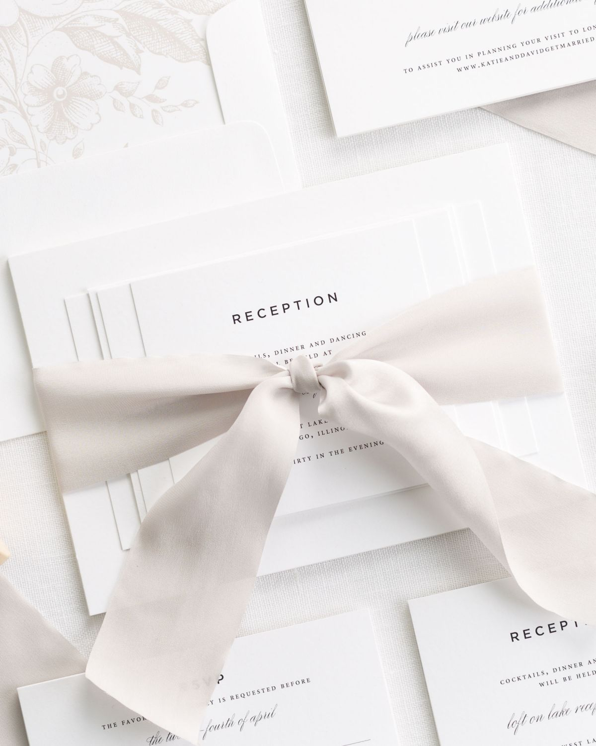 Nude Wedding Invitations with Silk Ribbon