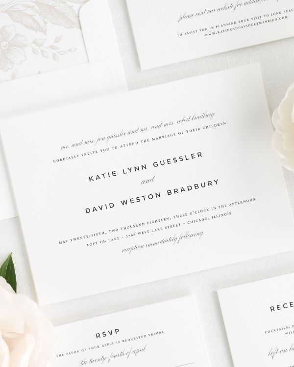 modern and romantic wedding invitations with a mocha envelope liner
