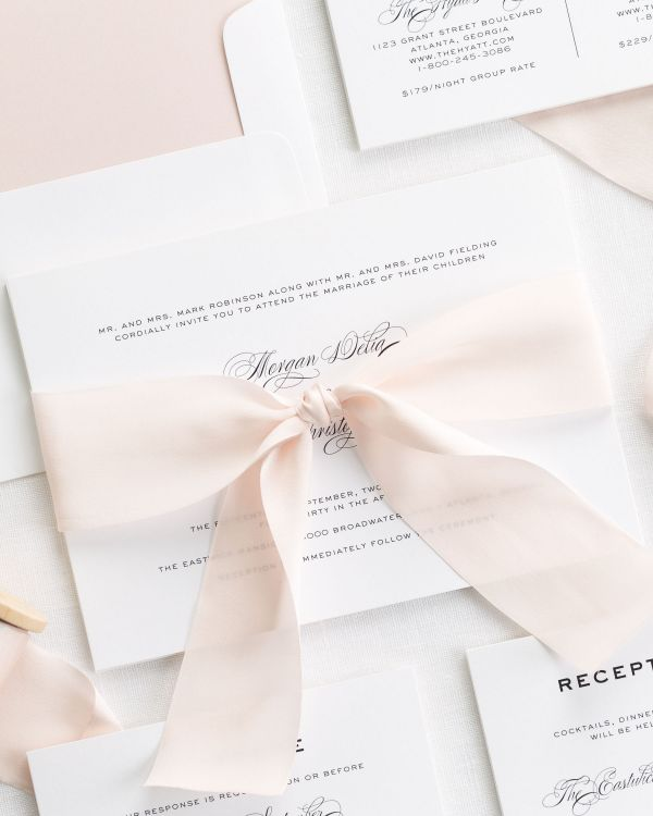Classic Vintage Ribbon Wedding Invitations