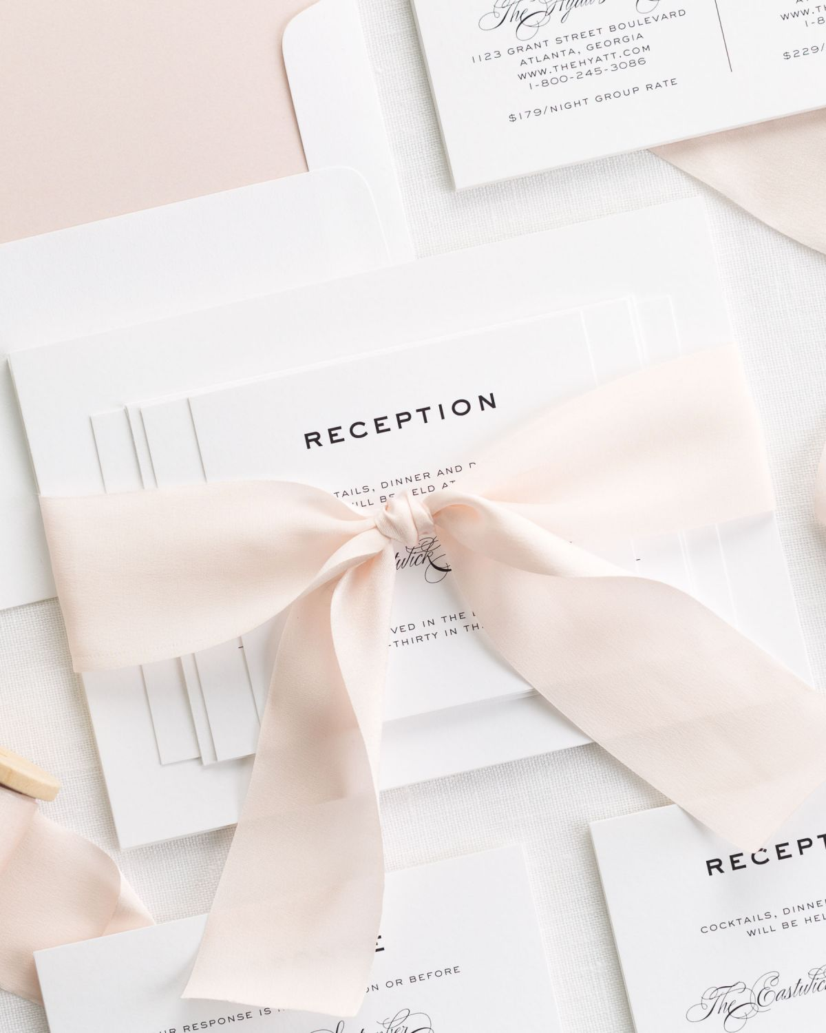 Pink Wedding Invitations with Silk Ribbon