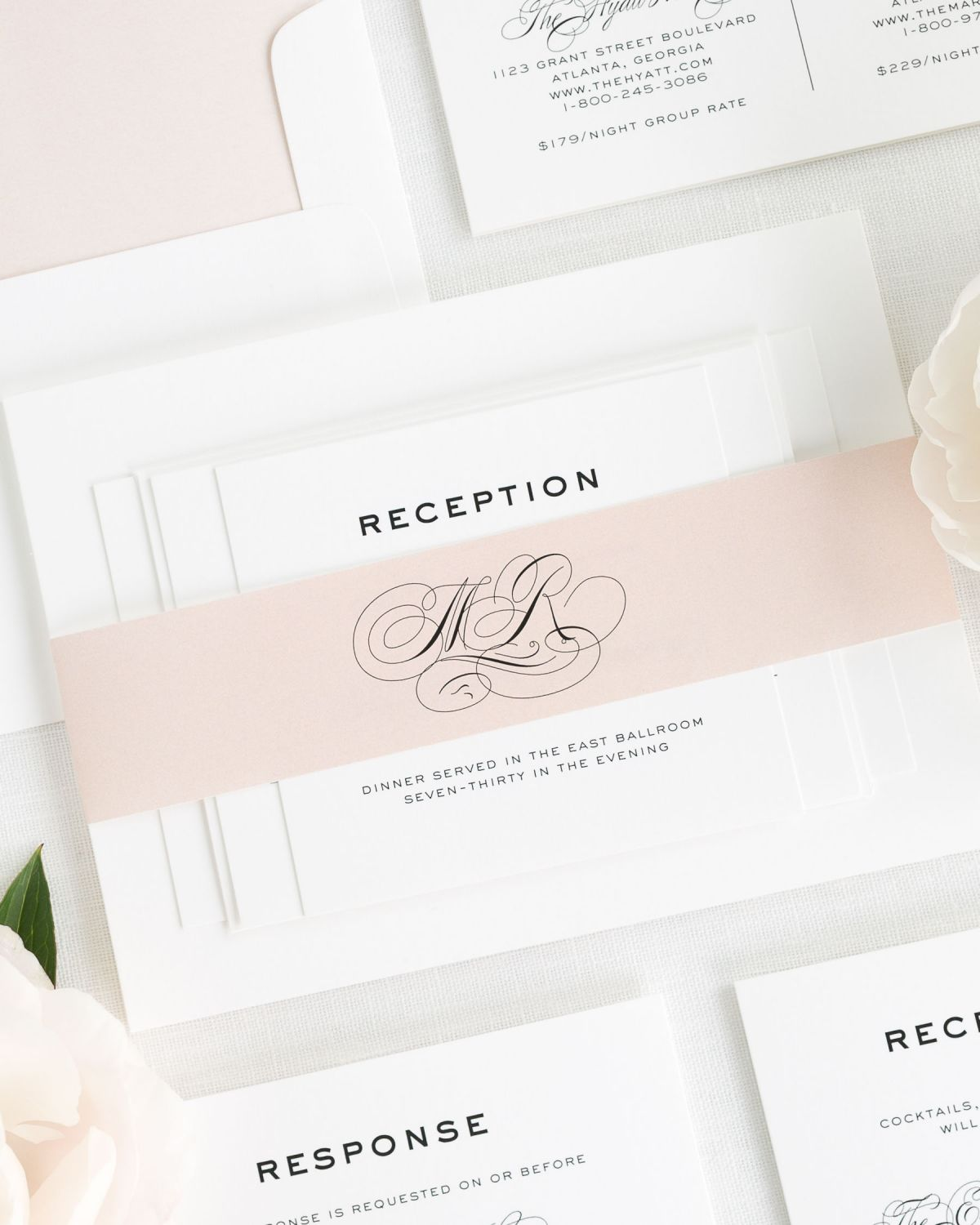 Rose Gold Wedding Invitations with Belly Band and Solid Envelope Liner