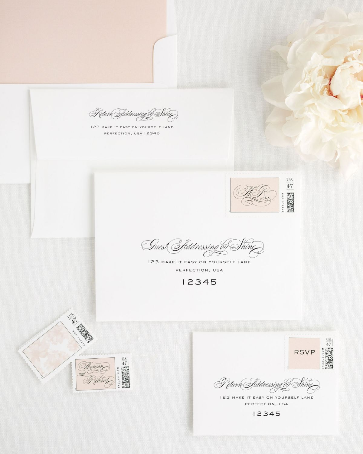 Wedding Invitation Envelopes with Rose Gold Custom Stamps and Solid Liner