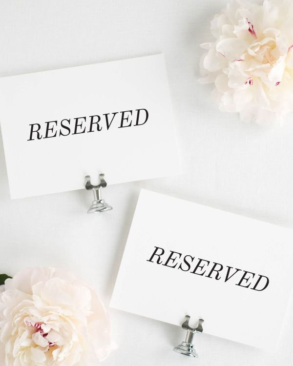 Classic Romance Reserved Signs