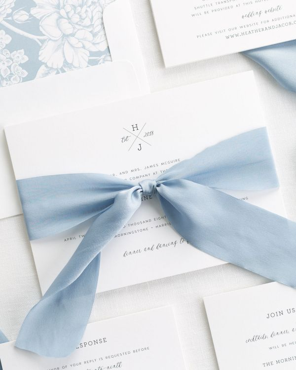 Cross Monogram Ribbon Wedding Invitations