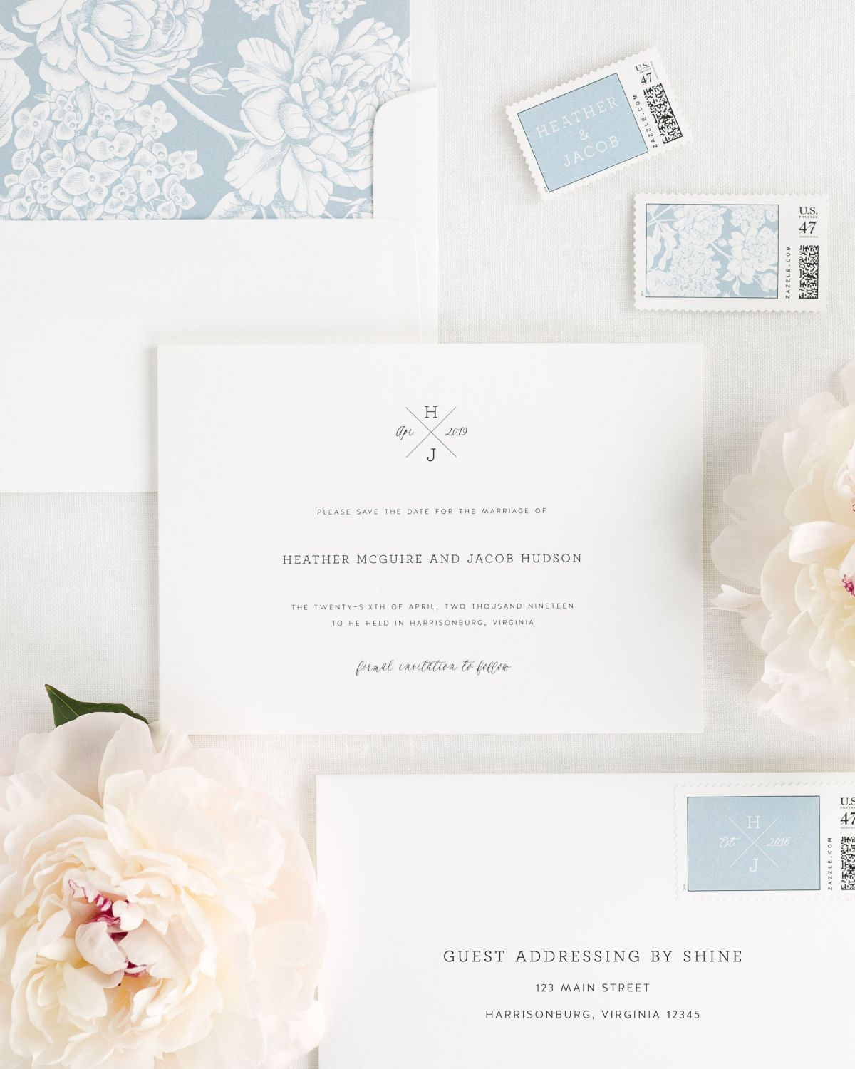 Save the Date with Dusty Blue Envelope Liner and Peronalized Stamps