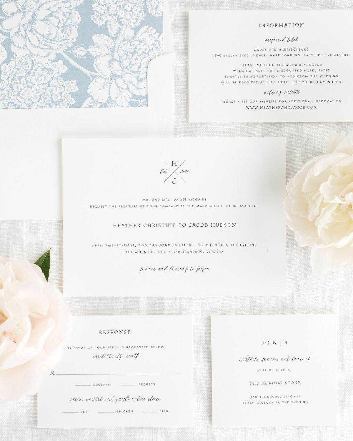 Wedding Invitation Suite with Dusty Blue Envelope Liner
