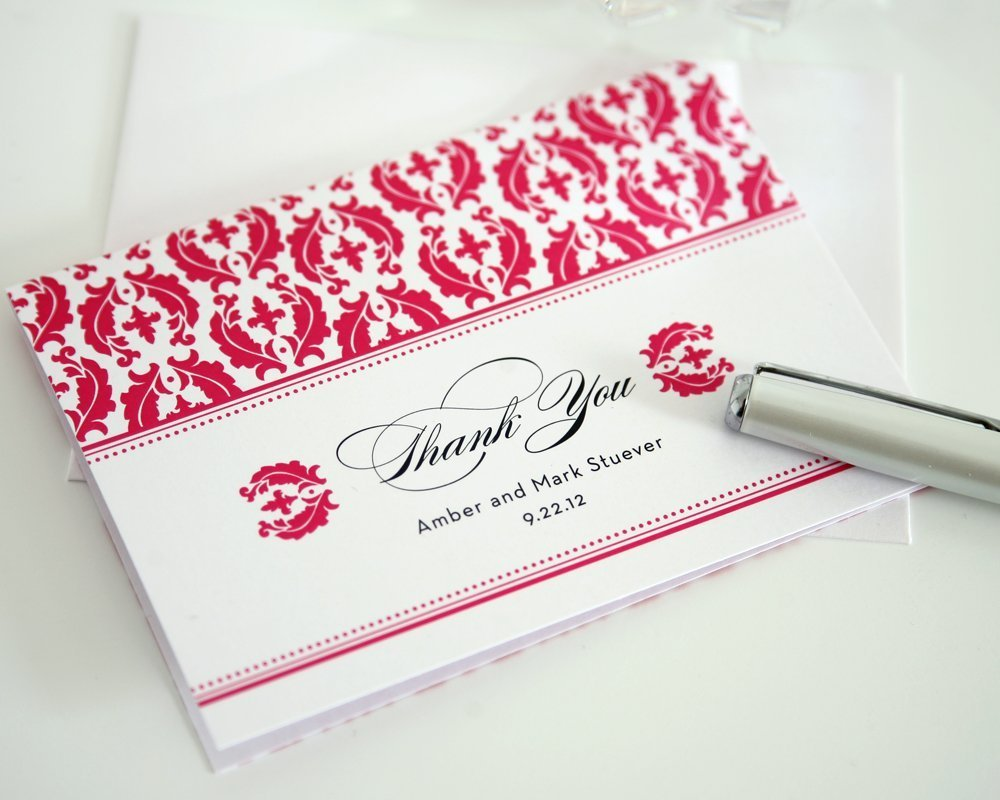 Damask Thank You Card with Hot Pink Damask Design