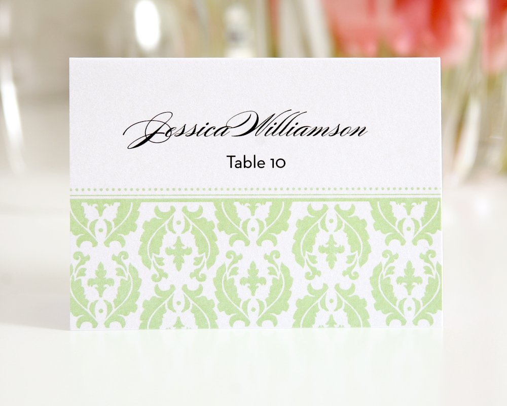 Green Damask Escort Cards