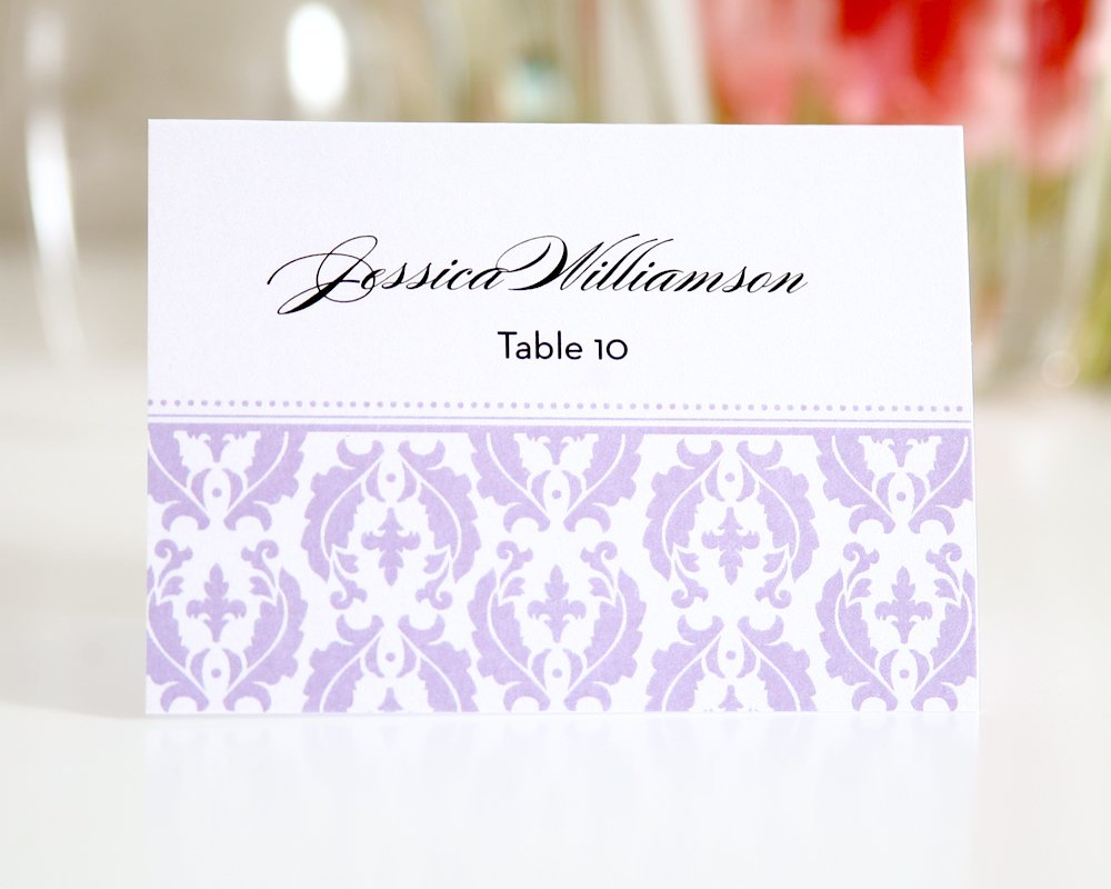 Purple Damask Seating Cards