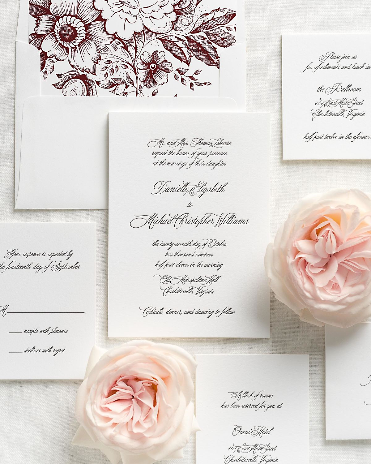 Letterpress Wedding Invitations with Cabernet Garden Rose Envelope Liner and Matching Accessories