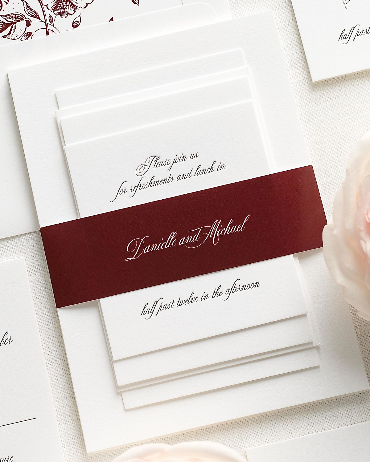 Wedding Invitations with Cabernet Belly Band and Letterpress Printing