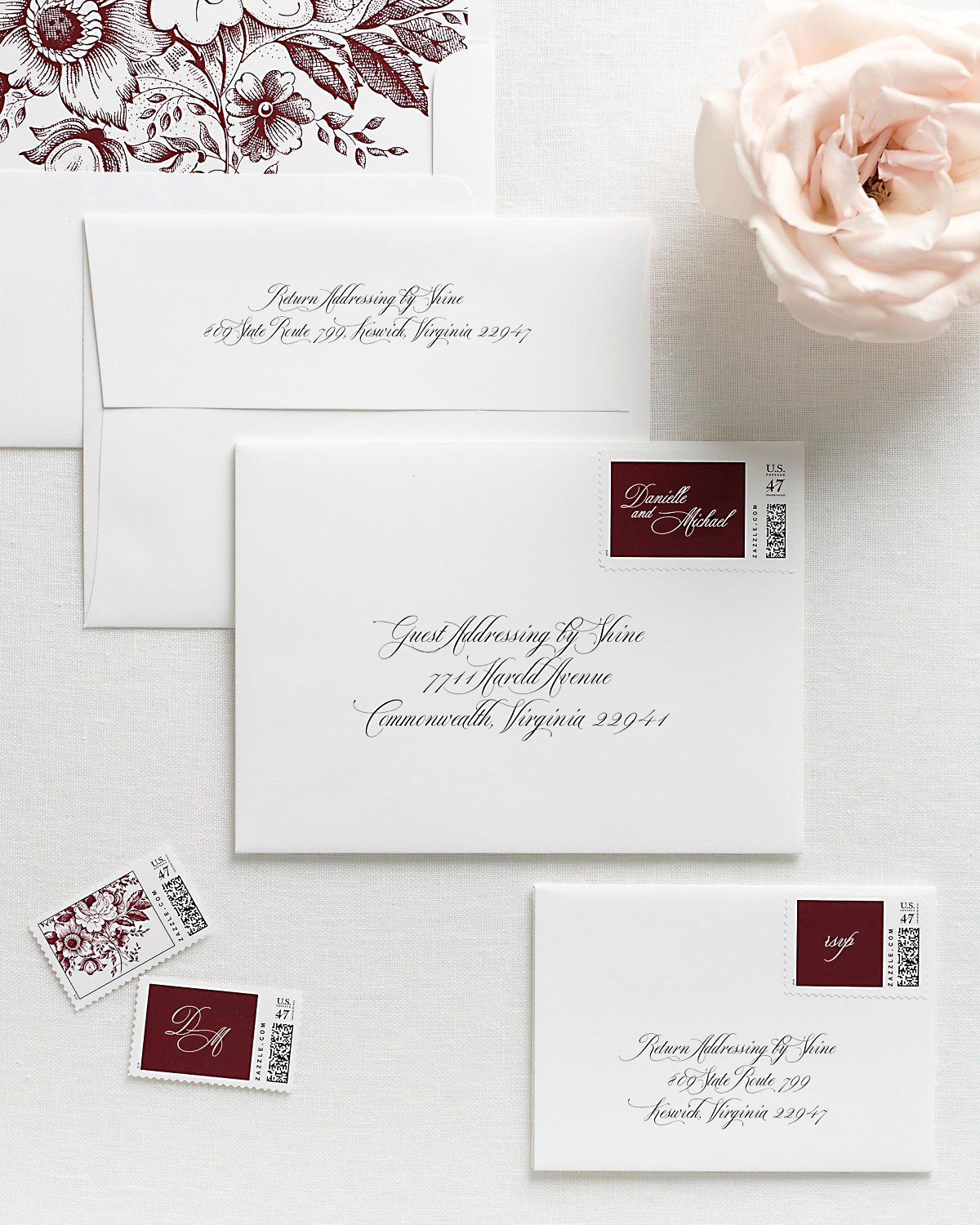 Wedding Invitation Envelopes with Pre-Printed Addresses and Matching Cabernet Personalized Stamps