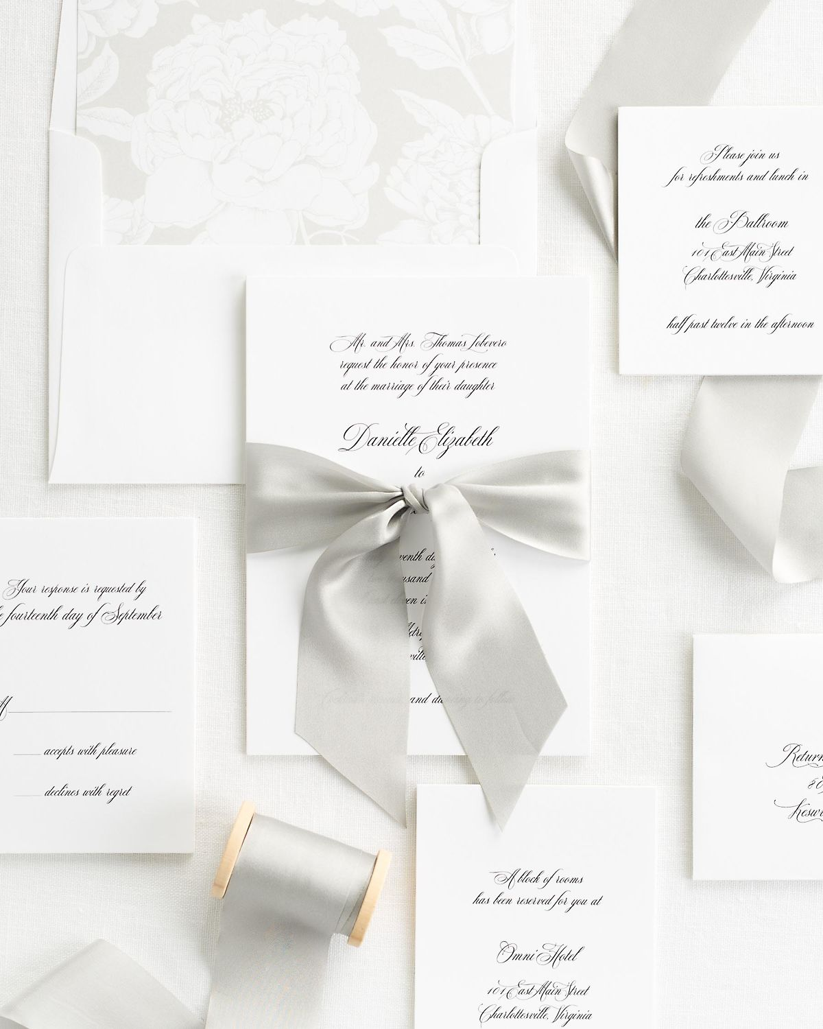 Feather Gray Wedding Invitations with Silk Ribbon