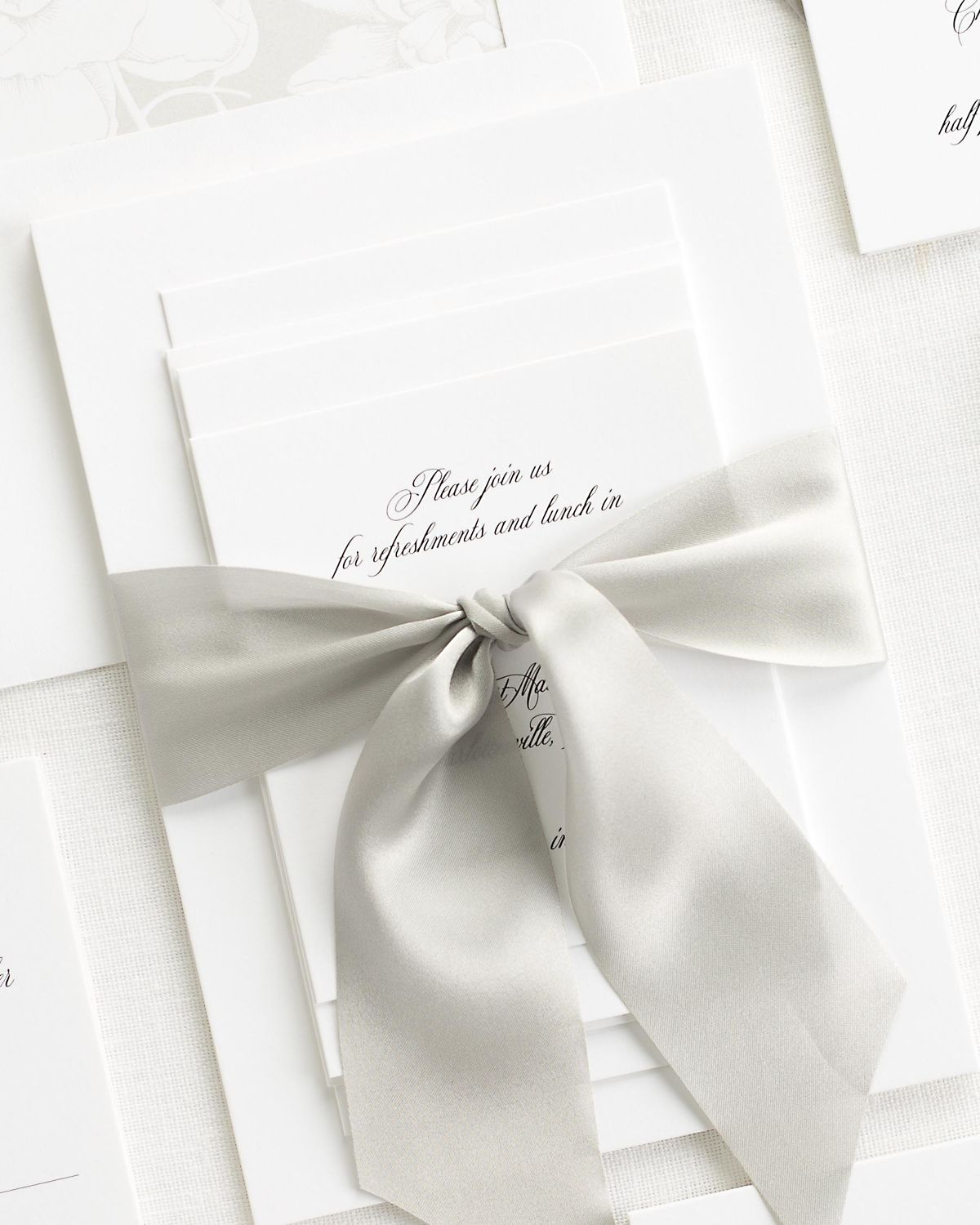 Complete Wedding Stationery Set with Light Gray Ribbon and Enclosures