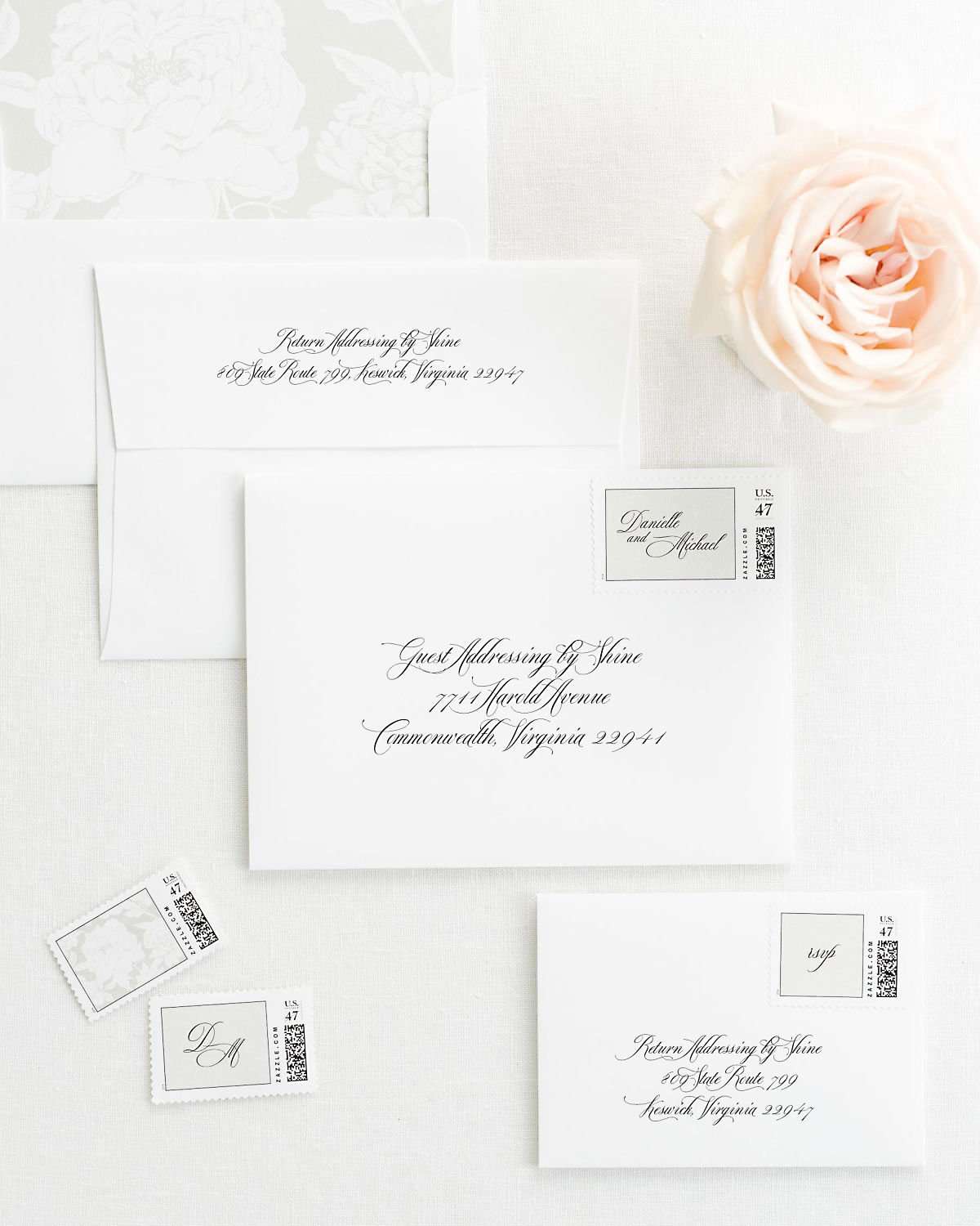 Wedding Invitation Envelopes with Pre-Printed Addresses and Matching Feather Gray Custom Postage
