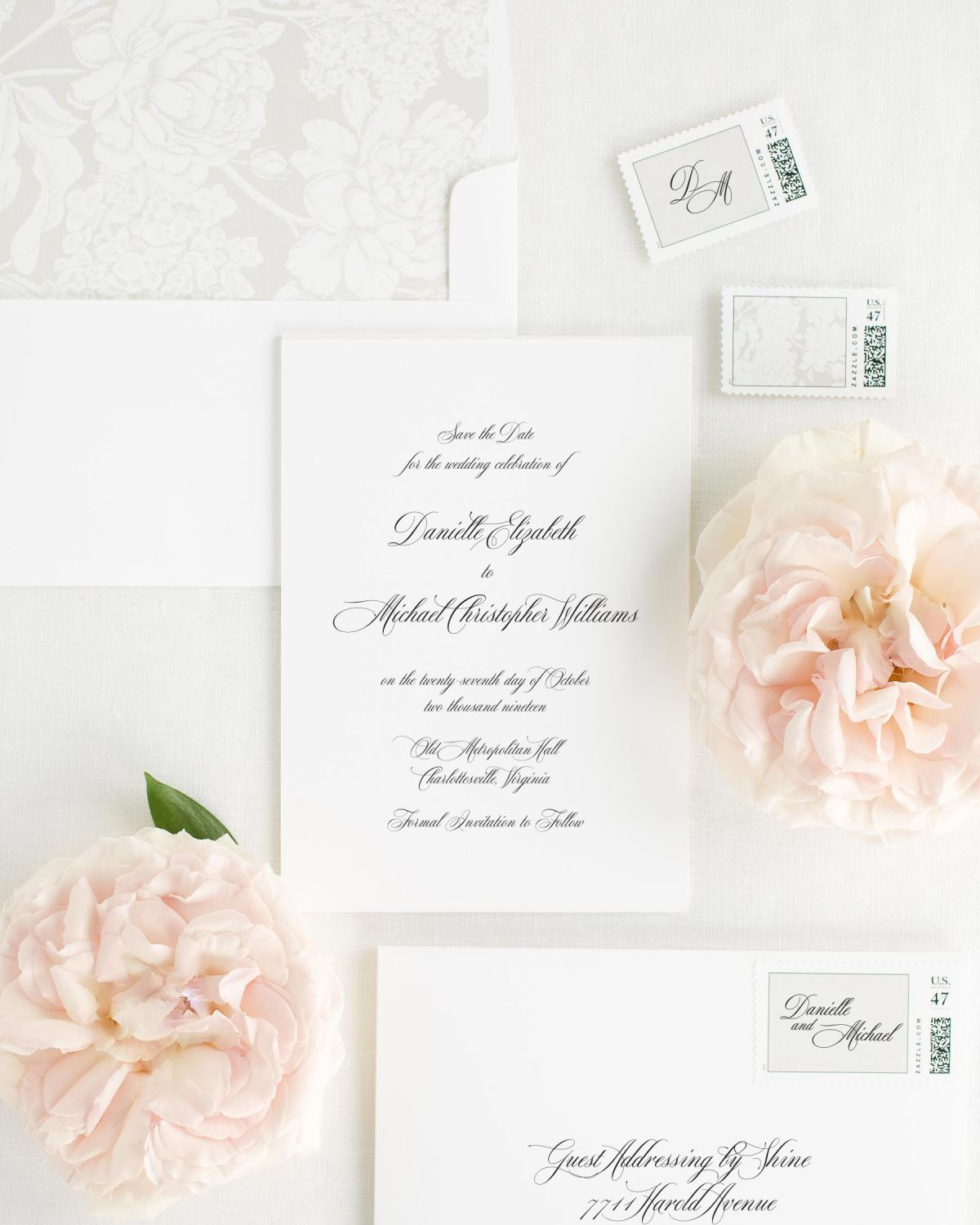 Save the Date with Feather Envelope Liner and Personalized Stamps