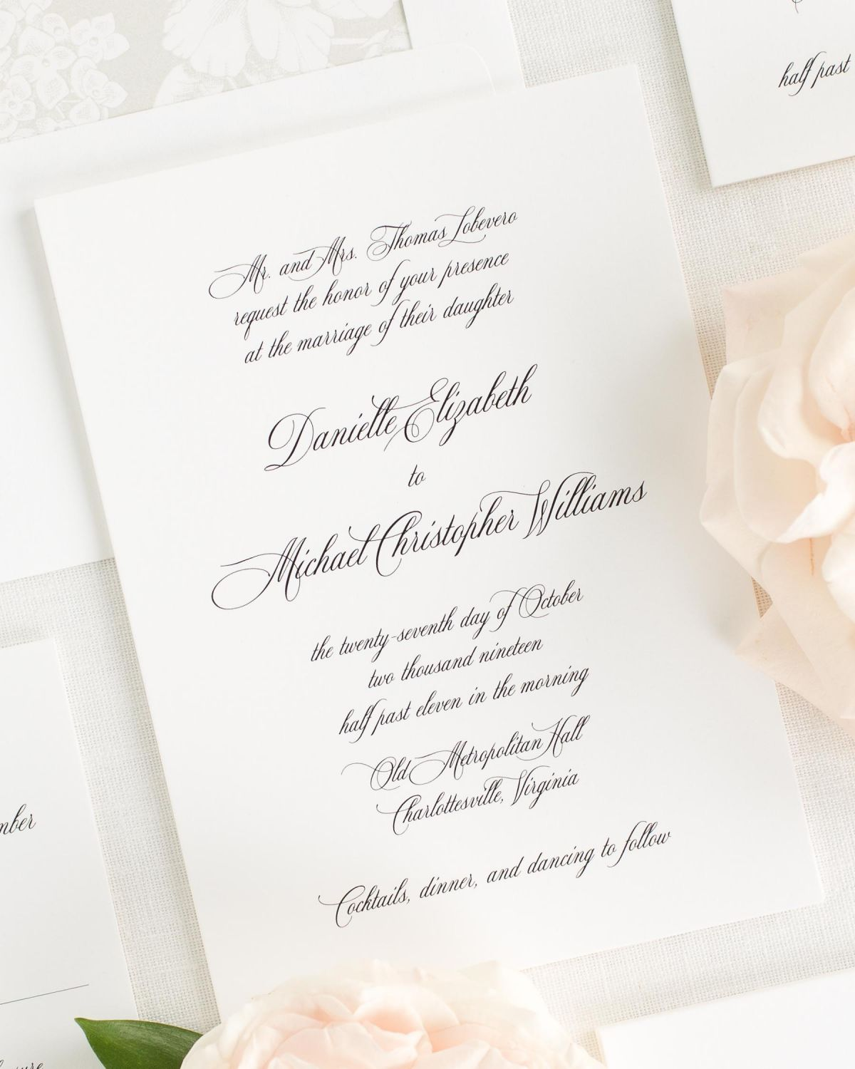 all script wedding invitations with a light gray envelope liner