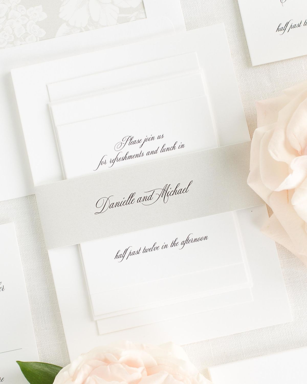 Feather Wedding Invitations with Belly Band and Hydrangea Envelope Liner